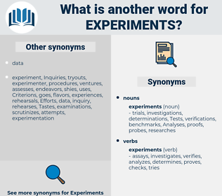 experiments, synonym experiments, another word for experiments, words like experiments, thesaurus experiments