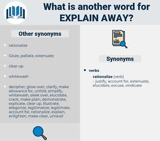 explain away, synonym explain away, another word for explain away, words like explain away, thesaurus explain away