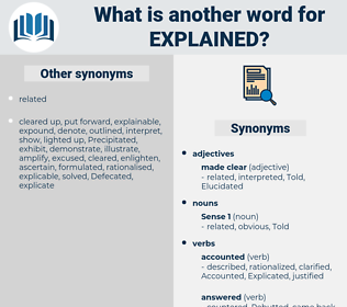 Explained, synonym Explained, another word for Explained, words like Explained, thesaurus Explained