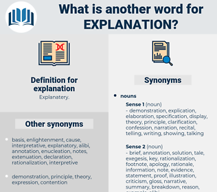 explanation, synonym explanation, another word for explanation, words like explanation, thesaurus explanation