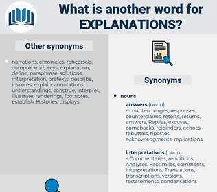 explanations, synonym explanations, another word for explanations, words like explanations, thesaurus explanations