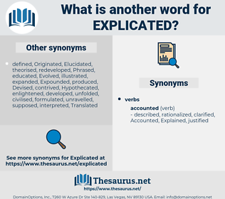 Explicated, synonym Explicated, another word for Explicated, words like Explicated, thesaurus Explicated