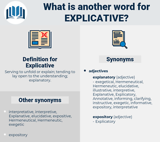 Explicative, synonym Explicative, another word for Explicative, words like Explicative, thesaurus Explicative