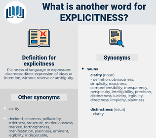 explicitness, synonym explicitness, another word for explicitness, words like explicitness, thesaurus explicitness