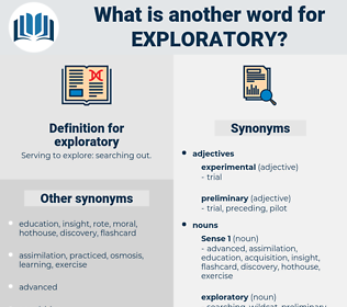 exploratory, synonym exploratory, another word for exploratory, words like exploratory, thesaurus exploratory