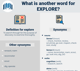 explore, synonym explore, another word for explore, words like explore, thesaurus explore
