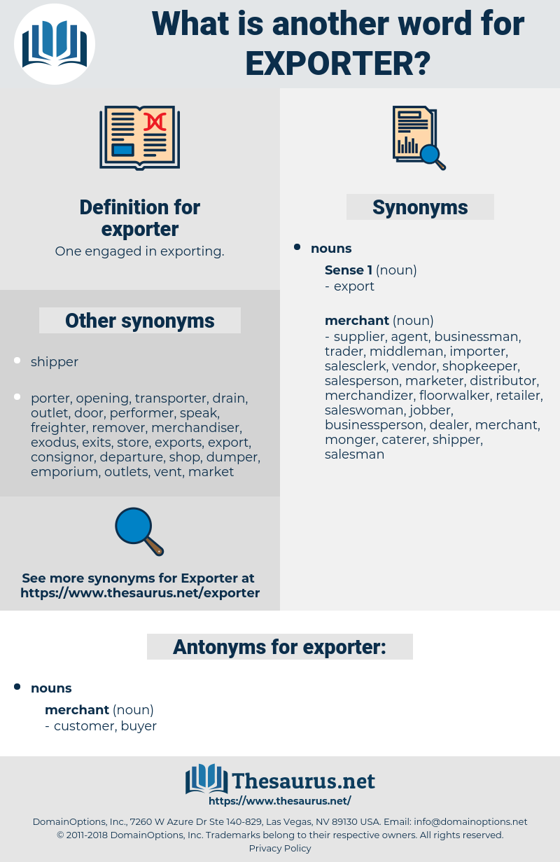 exporter, synonym exporter, another word for exporter, words like exporter, thesaurus exporter
