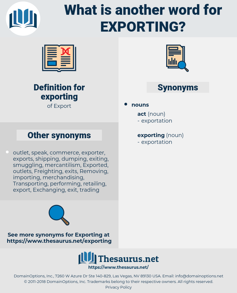 exporting, synonym exporting, another word for exporting, words like exporting, thesaurus exporting