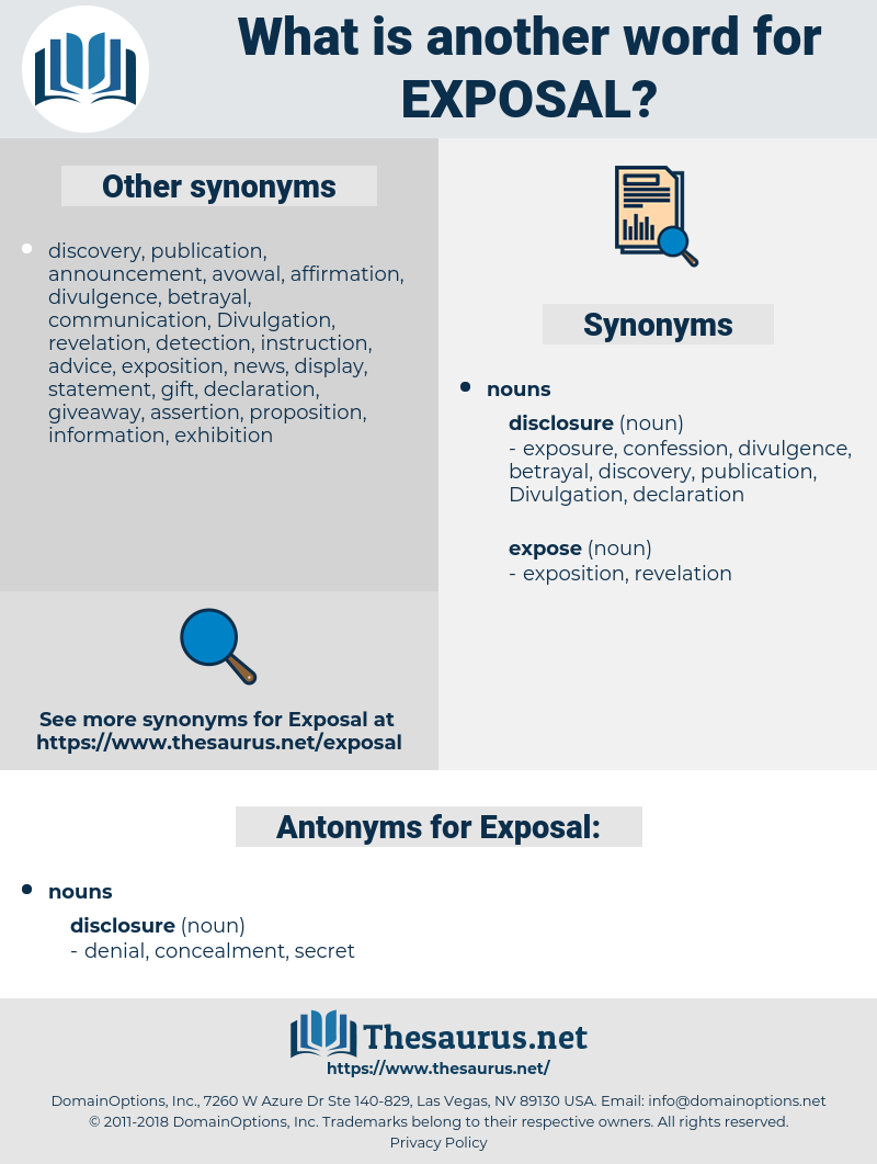 Exposal, synonym Exposal, another word for Exposal, words like Exposal, thesaurus Exposal