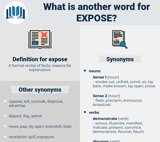 expose, synonym expose, another word for expose, words like expose, thesaurus expose