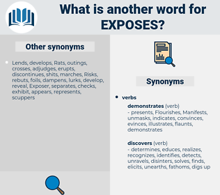exposes, synonym exposes, another word for exposes, words like exposes, thesaurus exposes