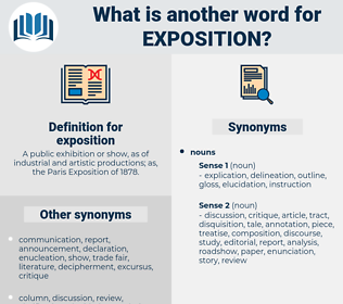 exposition, synonym exposition, another word for exposition, words like exposition, thesaurus exposition