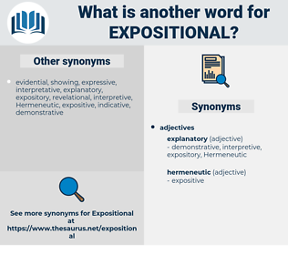 expositional, synonym expositional, another word for expositional, words like expositional, thesaurus expositional