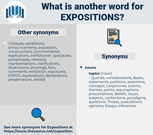 expositions, synonym expositions, another word for expositions, words like expositions, thesaurus expositions