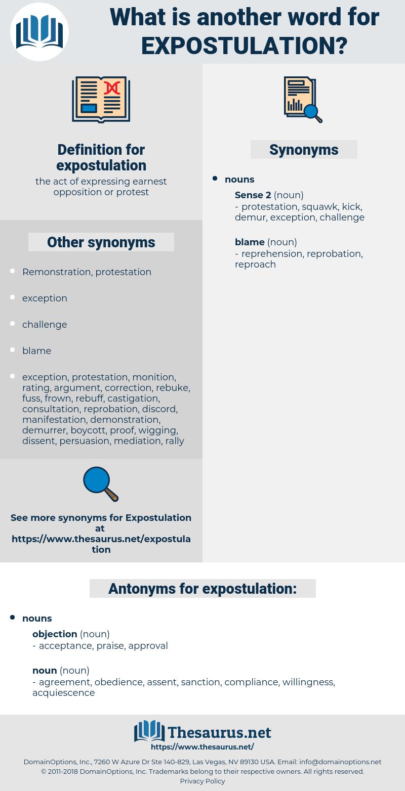 expostulation, synonym expostulation, another word for expostulation, words like expostulation, thesaurus expostulation