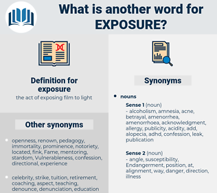 exposure, synonym exposure, another word for exposure, words like exposure, thesaurus exposure