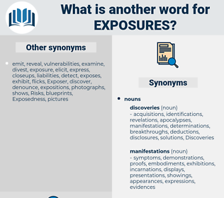 exposures, synonym exposures, another word for exposures, words like exposures, thesaurus exposures