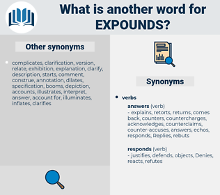 expounds, synonym expounds, another word for expounds, words like expounds, thesaurus expounds