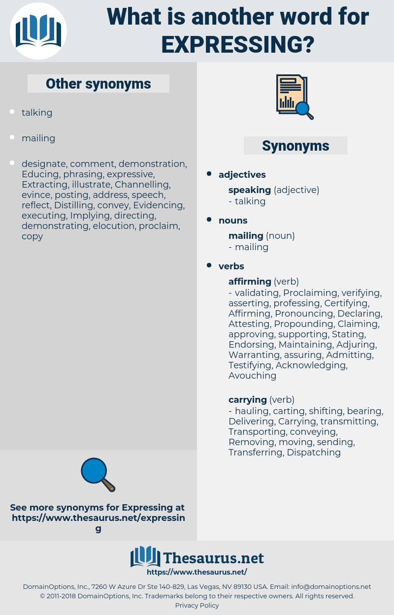 Expressing, synonym Expressing, another word for Expressing, words like Expressing, thesaurus Expressing
