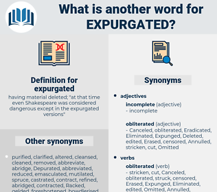 expurgated, synonym expurgated, another word for expurgated, words like expurgated, thesaurus expurgated