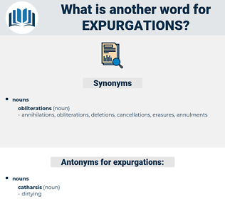 expurgations, synonym expurgations, another word for expurgations, words like expurgations, thesaurus expurgations