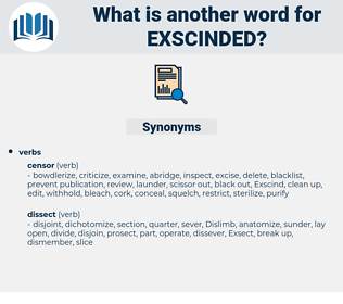 Exscinded, synonym Exscinded, another word for Exscinded, words like Exscinded, thesaurus Exscinded