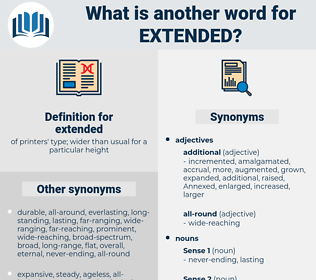 extended, synonym extended, another word for extended, words like extended, thesaurus extended