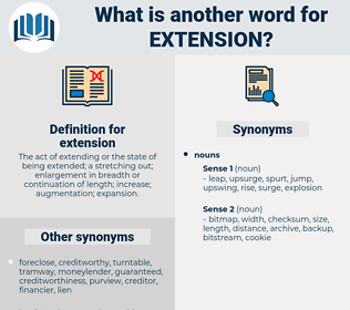 extension, synonym extension, another word for extension, words like extension, thesaurus extension