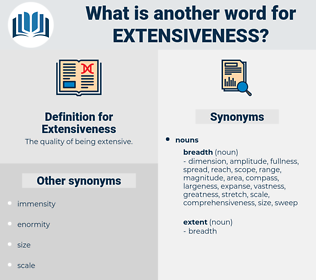 Extensiveness, synonym Extensiveness, another word for Extensiveness, words like Extensiveness, thesaurus Extensiveness