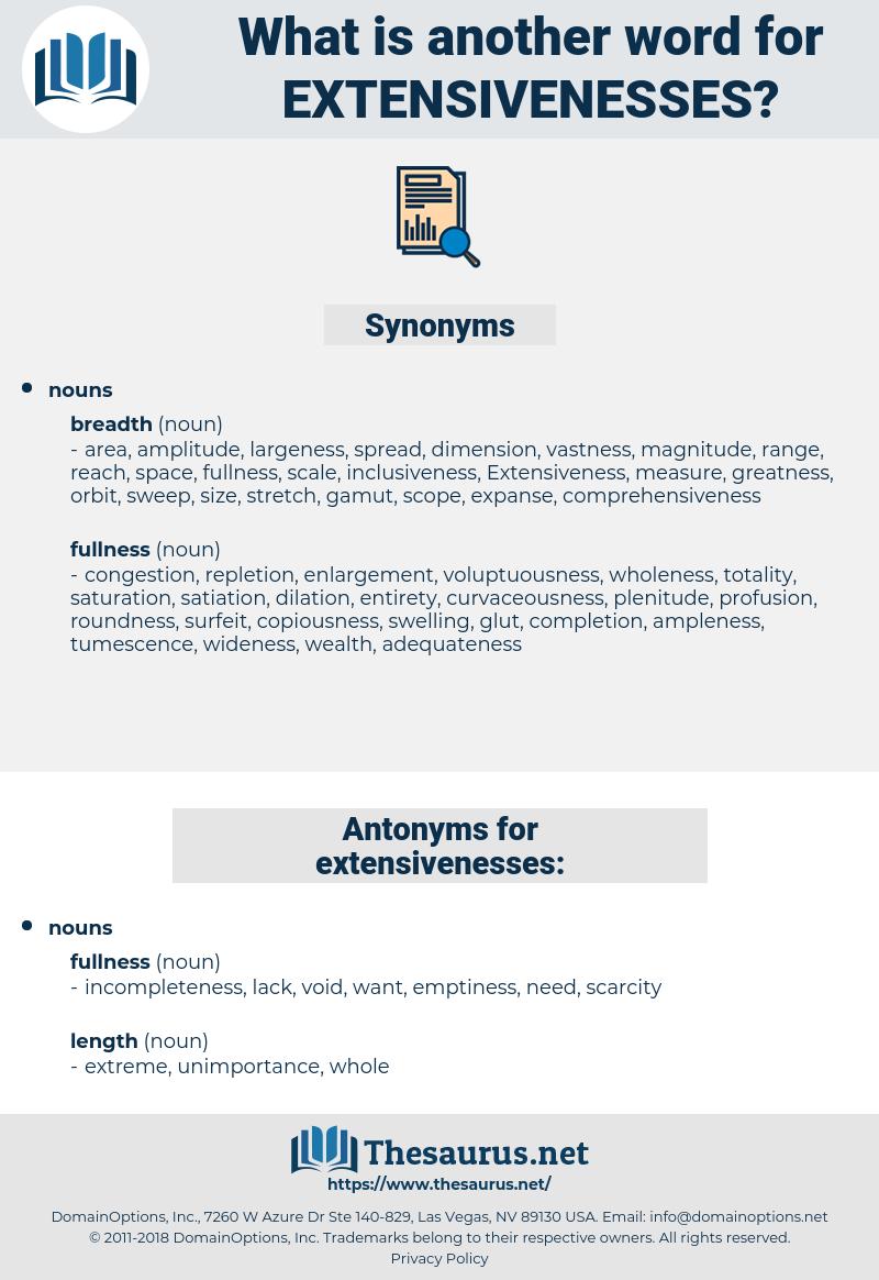 extensivenesses, synonym extensivenesses, another word for extensivenesses, words like extensivenesses, thesaurus extensivenesses