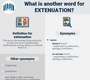 extenuation, synonym extenuation, another word for extenuation, words like extenuation, thesaurus extenuation