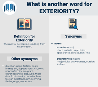 Exteriority, synonym Exteriority, another word for Exteriority, words like Exteriority, thesaurus Exteriority