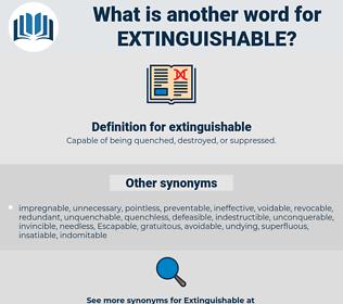 extinguishable, synonym extinguishable, another word for extinguishable, words like extinguishable, thesaurus extinguishable