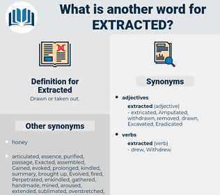 Extracted, synonym Extracted, another word for Extracted, words like Extracted, thesaurus Extracted