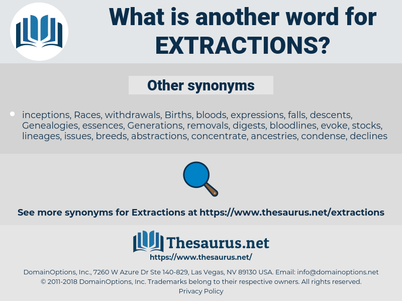 extractions, synonym extractions, another word for extractions, words like extractions, thesaurus extractions