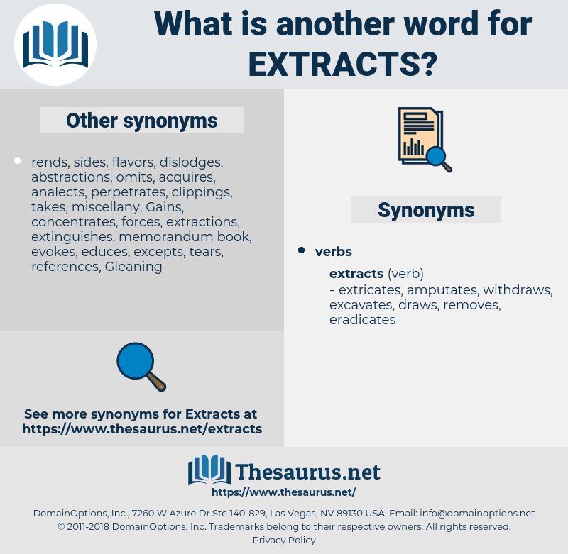 extracts, synonym extracts, another word for extracts, words like extracts, thesaurus extracts