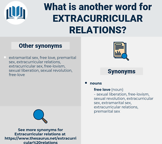 extracurricular relations, synonym extracurricular relations, another word for extracurricular relations, words like extracurricular relations, thesaurus extracurricular relations