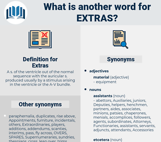 Extras, synonym Extras, another word for Extras, words like Extras, thesaurus Extras