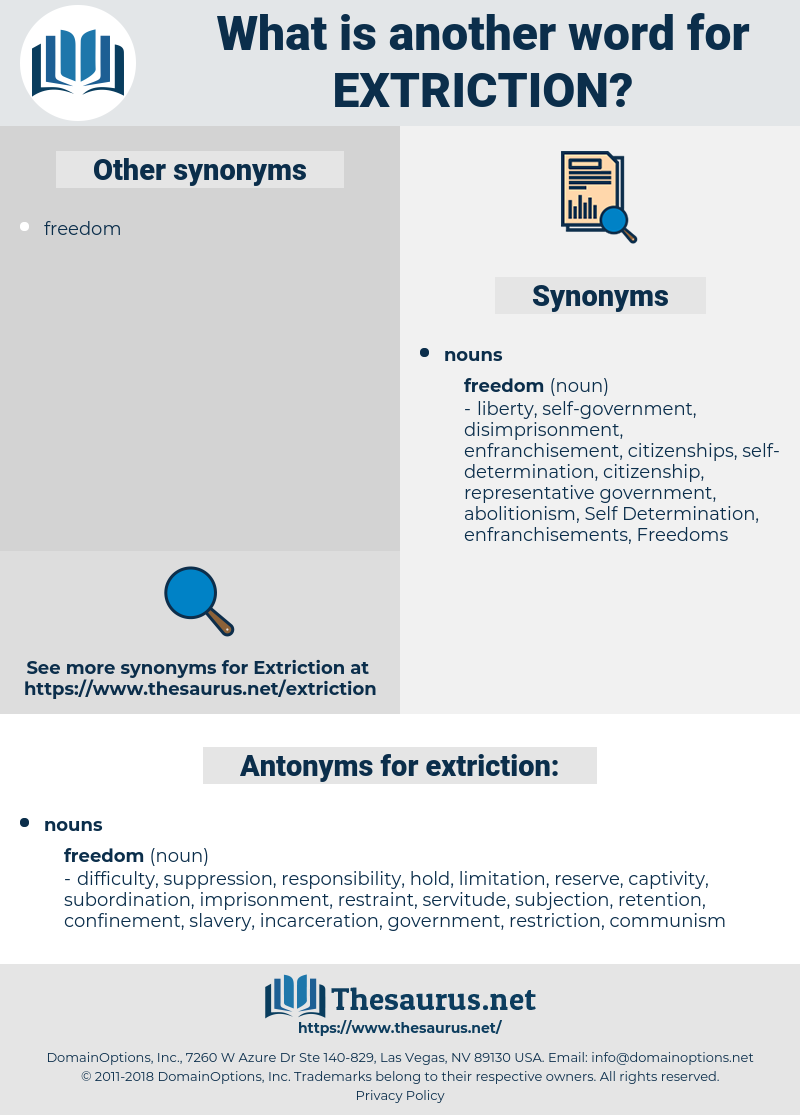 extriction, synonym extriction, another word for extriction, words like extriction, thesaurus extriction