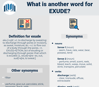 exude, synonym exude, another word for exude, words like exude, thesaurus exude