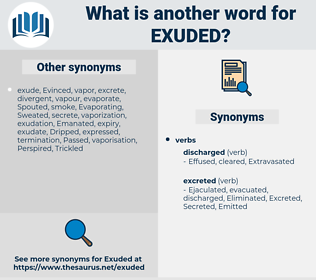 Exuded, synonym Exuded, another word for Exuded, words like Exuded, thesaurus Exuded