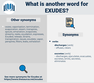 exudes, synonym exudes, another word for exudes, words like exudes, thesaurus exudes