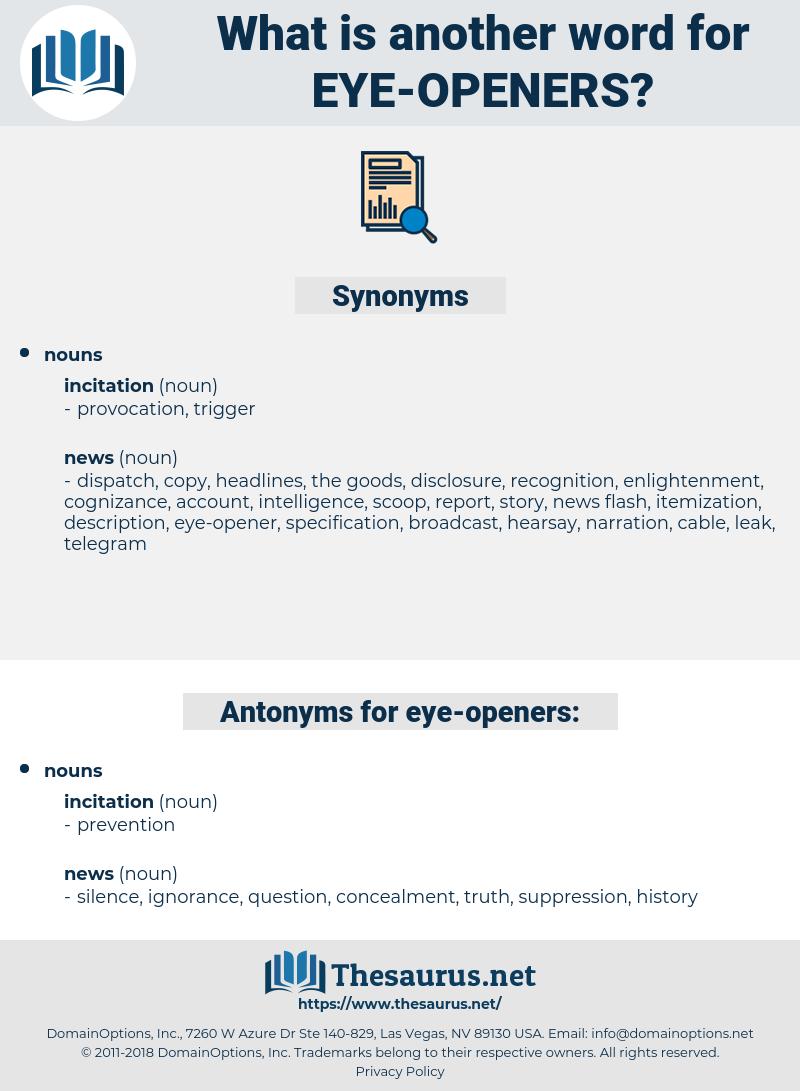 eye-openers, synonym eye-openers, another word for eye-openers, words like eye-openers, thesaurus eye-openers