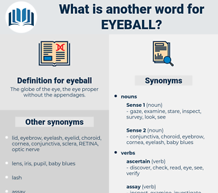 eyeball, synonym eyeball, another word for eyeball, words like eyeball, thesaurus eyeball