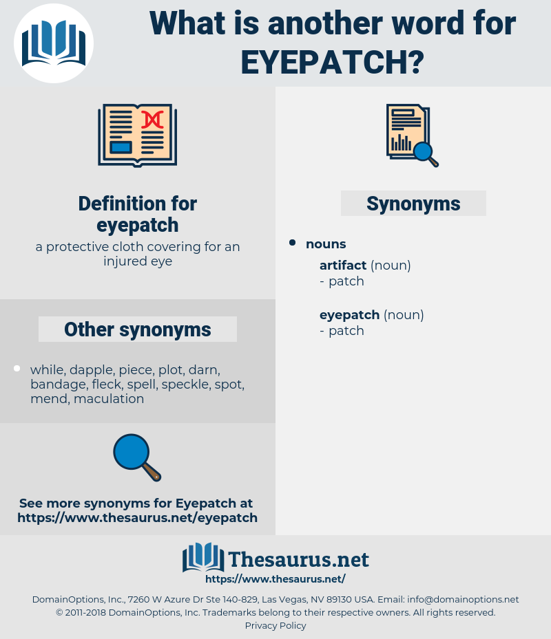 eyepatch, synonym eyepatch, another word for eyepatch, words like eyepatch, thesaurus eyepatch