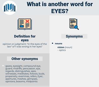 eyes, synonym eyes, another word for eyes, words like eyes, thesaurus eyes