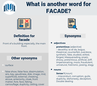 facade, synonym facade, another word for facade, words like facade, thesaurus facade
