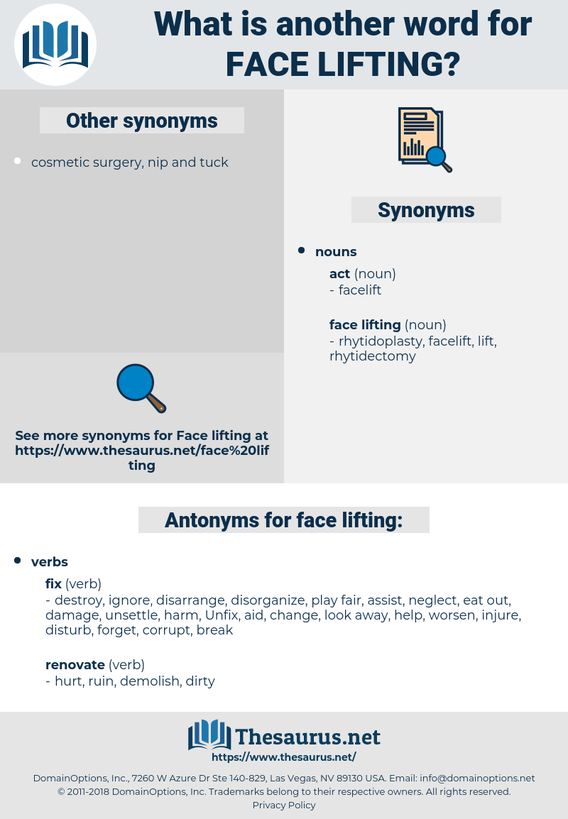 face lifting, synonym face lifting, another word for face lifting, words like face lifting, thesaurus face lifting