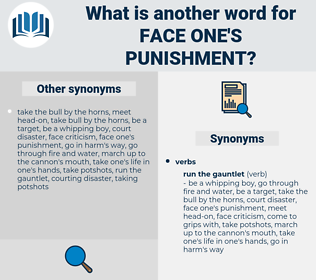 face one's punishment, synonym face one's punishment, another word for face one's punishment, words like face one's punishment, thesaurus face one's punishment