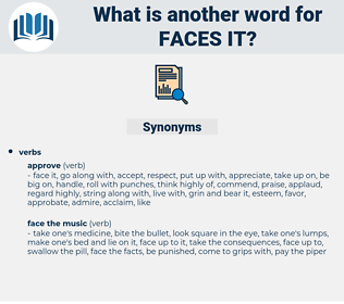 faces it, synonym faces it, another word for faces it, words like faces it, thesaurus faces it